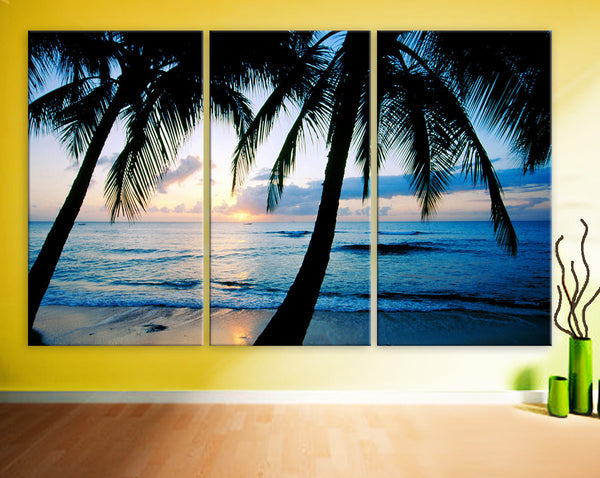 "Huge 3 Panels framed 1.5"" depth Art Canvas Print beautiful sunset Beach ocean Palm sea blue Wall home office decor interior - BoxColors"