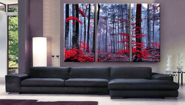 "Huge 3 Panels framed 1.5"" depth Art Canvas Print beautiful Forest trees autumn fog morning Wall home office decor interior - BoxColors"