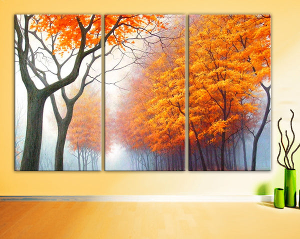 "Huge 3 Panels framed 1.5"" depth Art Canvas Print beautiful Trees Forest Foggy Autumn Wall home office decor interior - BoxColors"