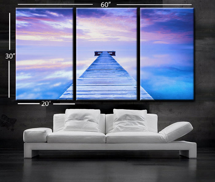 "LARGE 30""x 60"" 3 Panels Art Canvas Print beautiful beach sea calm water quiet reflection wooden bridge Wall Home(Included framed 1.5"" depth) - BoxColors"