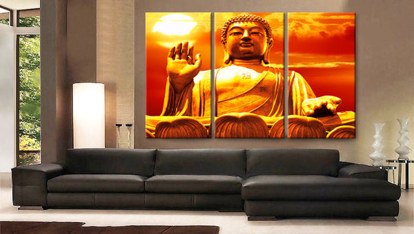 "Huge 3 Panels framed 1.5"" depth Art Canvas Print Buddha meditation Spiritual Wall home office decor interior - BoxColors"