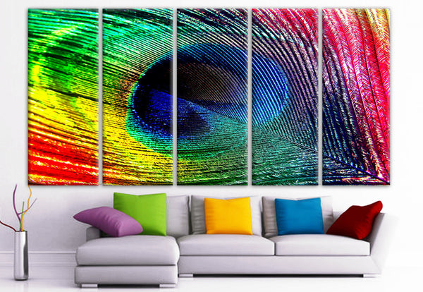 "XLARGE 30""x 70"" 5 Panels Art Canvas Print Peacock Feather colors blue green red yellow Wall Home Decor interior (Included framed 1.5"" depth) - BoxColors"