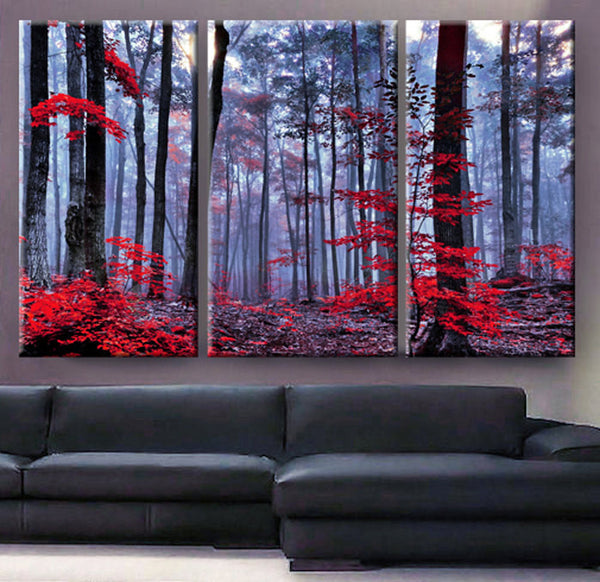 Art Canvas Print beautiful Forest trees autumn fog morning Wall home decor interior - BoxColors