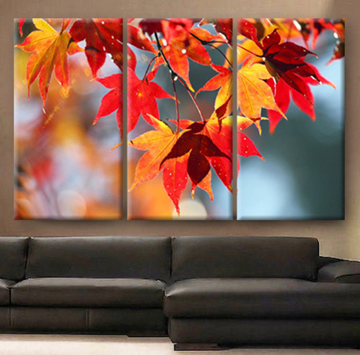 LARGE 30x60 3 Panels Art Canvas Print beautiful Autumn red leaves nature scenery Wall home office decor interior - BoxColors