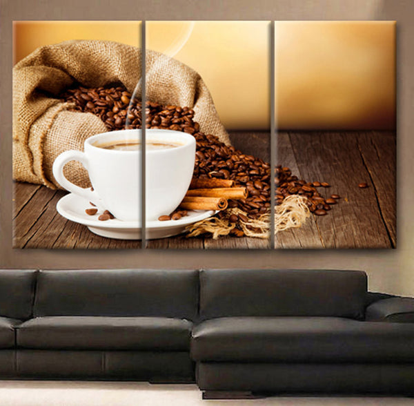 "Huge 3 Panels framed 1.5"" depth Art Canvas Print beautiful Coffee beans Cup of coffee drink cinnamon saucer Wall home office decor interior - BoxColors"
