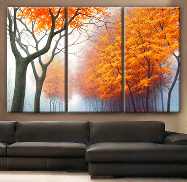 "Huge 3 Panels framed 1.5"" depth Art Canvas Print beautiful Trees Forest Foggy Autumn Wall home office decor interior"