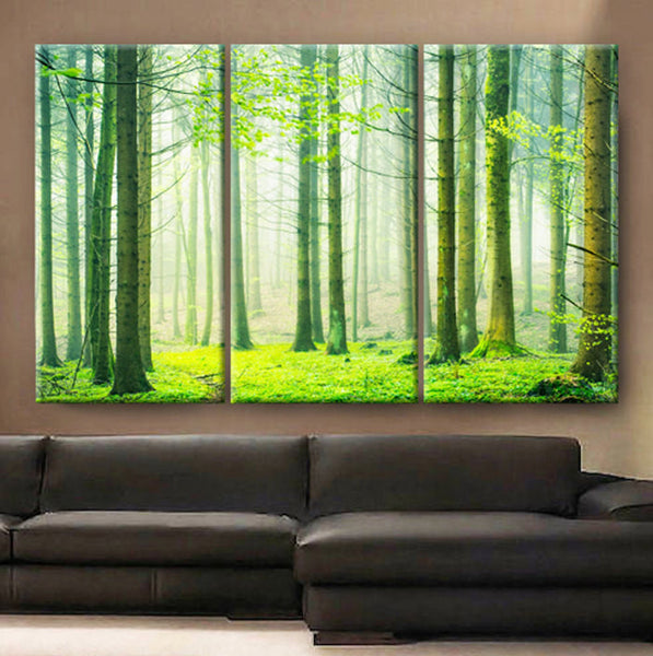 "Huge 3 Panels framed 1.5"" depth Art Canvas Print beautiful Spring nature forest scenery Wall home office decor interior"