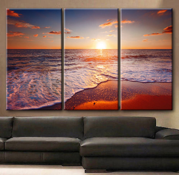"Huge 3 Panels framed 1.5"" depth Art Canvas Print beautiful sunset scenery sea sky clouds beach waves Wall home office decor interior - BoxColors"
