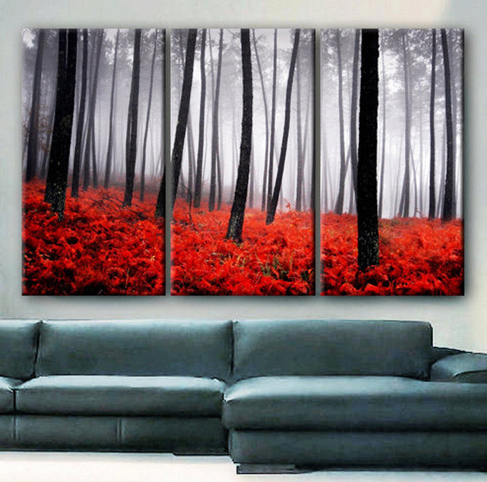 "Huge 3 Panels framed 1.5"" depth Art Canvas Print beautiful Trees Forest Foggy Autumn red ferns Nature Wall home office decor interior - BoxColors"