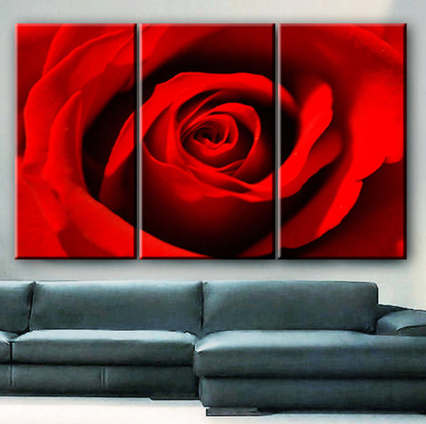 "LARGE 30x60 3 Panels framed 1.5"" depth Art Canvas Print  Red Rose love Flower Floral Nature Wall home office decor interior - BoxColors"