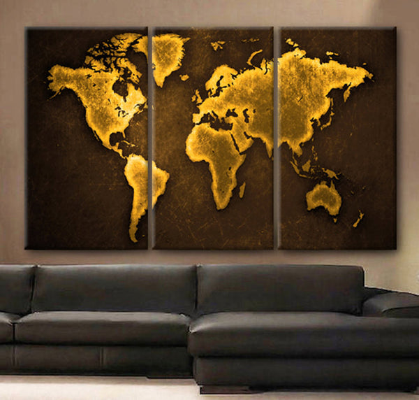 "Huge 3 Panels framed 1.5"" depth Art Canvas Print beautiful World Map Color Gold travel nursery Wall home office decor interior - BoxColors"