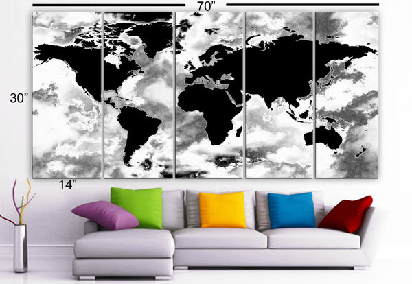 "XLARGE 30""x 70"" 5 Panels Art Canvas Print beautiful World Map Black & White Wall Home Decor interior (Included framed 1.5"" depth) - BoxColors"