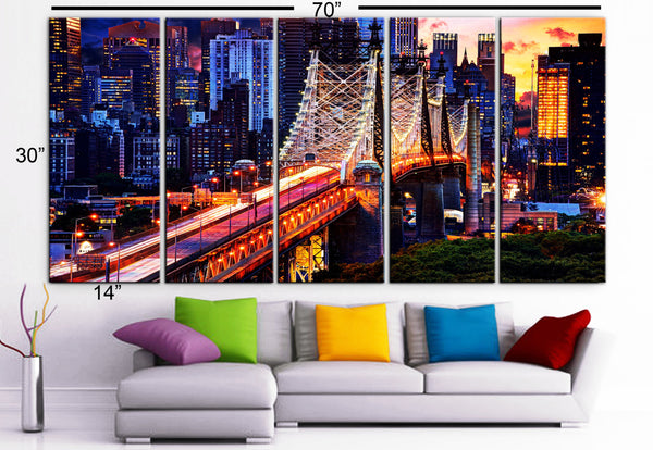 "XLARGE 30""x 70"" 5 Panels Art Canvas Print beautiful New York City Manhattan Bridge buildings skyline Wall Home (Included framed 1.5"" depth) - BoxColors"
