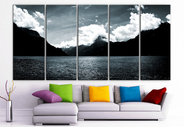 "XLARGE 30""x 70"" 5 Panels Art Canvas Print beautiful skyline mountains sea Black & White Wall Home Office decor (Included framed 1.5"" depth) - BoxColors"