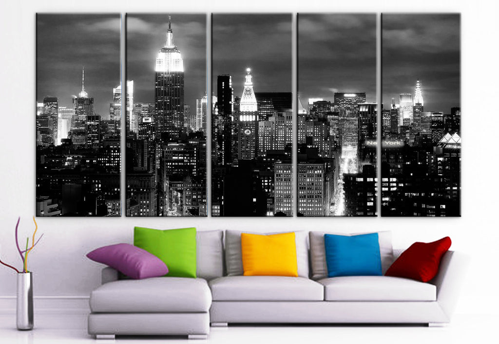 "XLARGE 30""x 70"" 5 Panels Art Canvas Print beautiful New York City skyline Black & White Wall Home (Included framed 1.5"" depth) - BoxColors"
