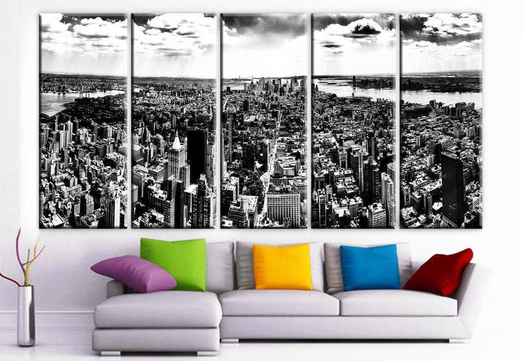 "XLARGE 30""x 70"" 5 Panels Art Canvas Print New York City Black & White skyscraper Manhattan skyline Wall Home (Included framed 1.5"" depth) - BoxColors"