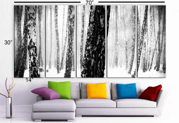 "XLARGE 30""x 70"" 5 Panels Art Canvas Print beautiful Winter season Snow Trees Forest Landscapes nature Wall Home (Included framed 1.5"" depth) - BoxColors"