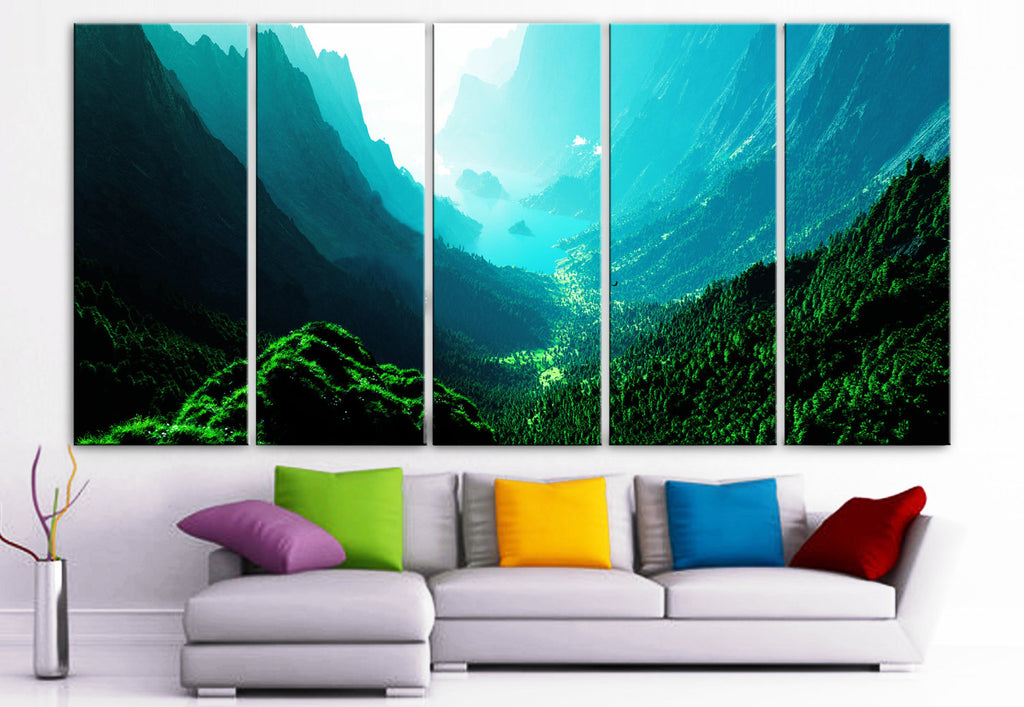 "XLARGE 30""x 70"" 5 Panels Art Canvas PrintBeautiful Nature mountain sunset canyon mountain river trees Wall Home (Included framed 1.5"" depth) - BoxColors"