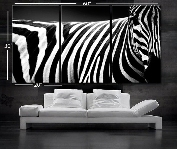 "LARGE 30""x 60"" 3Panels Art Canvas Print beautiful Zebra white Black animal Wall Home Decor interior (Included framed 1.5"" depth) - BoxColors"