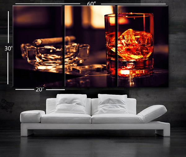 "LARGE 30""x 60"" 3 Panels Art Canvas Print Beautiful Glass whisky ice cigar Wall home office decor interior (Included framed 1.5"" depth) - BoxColors"