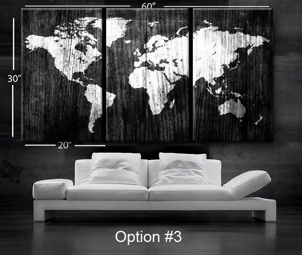 "LARGE 30""x 60"" 3 Panels Art Canvas Print beautiful World Map Wood texture Wall home office decor interior  (Included framed 1.5"" depth) - BoxColors"