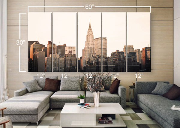 "LARGE 30""x 60"" 5 Panels Art Canvas Print beautiful New York City buildings skyline Wall Home Decor interior (Included framed 1.5"" depth) - BoxColors"