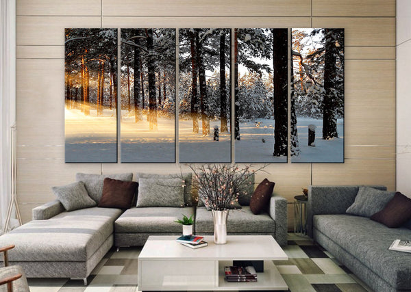 "LARGE 30""x 60"" 5 Panels Art Canvas Print beautiful Winter light rays nature tree Wall Home Decor interior (Included framed 1.5"" depth) - BoxColors"