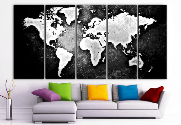"XLARGE 30""x 70"" 5 Panels Art Canvas Print beautiful World Map Black & White Wall Home Office Decor interior (Included framed 1.5"" depth) - BoxColors"