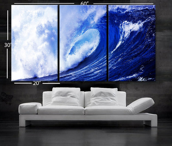 "LARGE 30""x 60"" 3 panels Art Canvas Print  Beach Ocean Sea Wave Blue White Wall (Included framed 1.5"" depth) - BoxColors"
