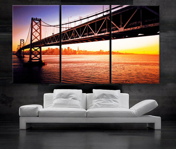 "LARGE 30""x 60"" 3 Panels Art Canvas Print Beautiful bridge San Francisco sunset Wall Home interior decor (Included framed 1.5"" depth) - BoxColors"