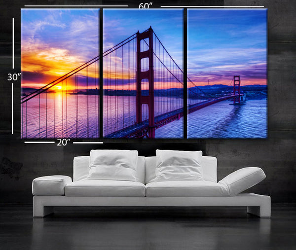 "LARGE 30""x 60"" 3 Panels Art Canvas Print Beautiful Golden Gate Bridge San Francisco California sunset Wall Home (Included framed 1.5"" depth) - BoxColors"