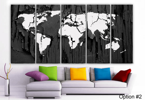 "XLARGE 30""x 70"" 5 Panels Art Canvas Print Original World Map Texture Select your Color Wall home decor interior (Included framed 1.5"" depth) - BoxColors"