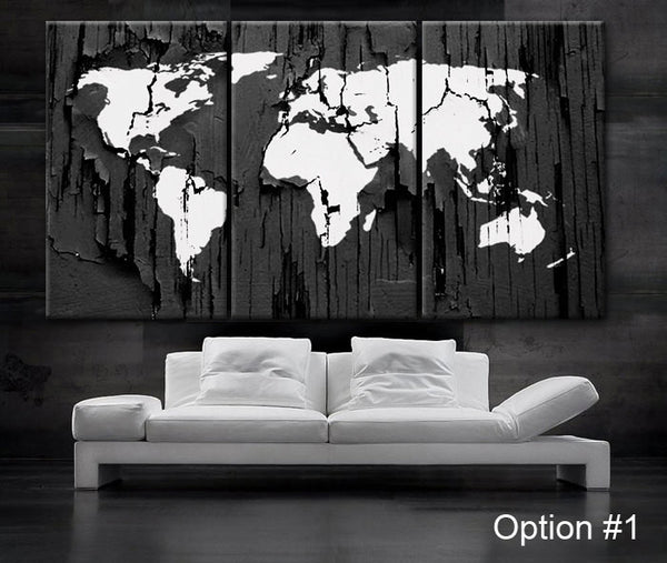 "LARGE 30""x 60"" 3 Panels Art Canvas Print World Map Texture Select Color Wall decor home office interior (Included framed 1.5"" depth) - BoxColors"