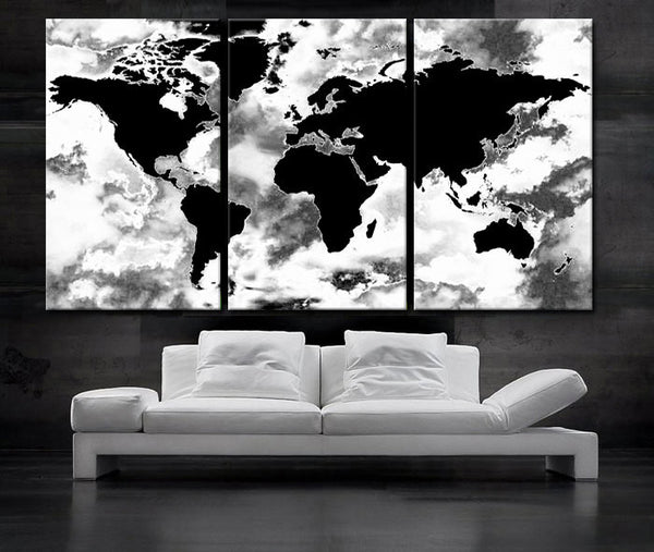 "LARGE 30""x 60"" 3 Panels Art Canvas Print beautiful World Map Black & White Wall Home Decor interior (Included framed 1.5"" depth) - BoxColors"