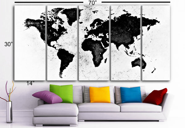 "XLARGE 30""x 70"" 5 Panels Art Canvas Print World Map Black & White Wall Home Office decor interior (Included framed 1.5"" depth) - BoxColors"