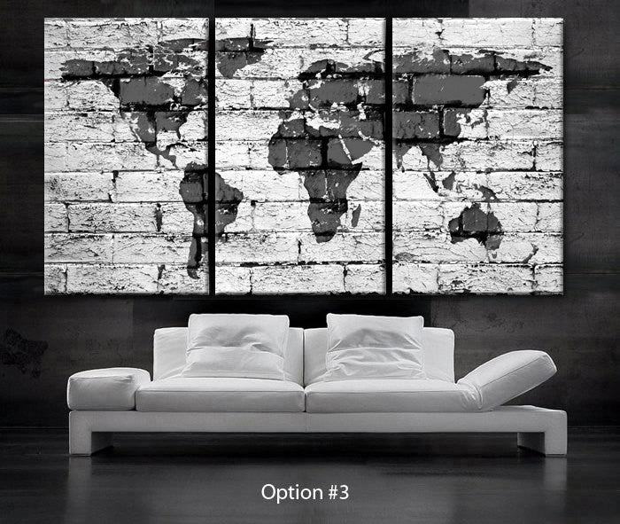 "LARGE 30""x 60"" 3 Panels Art Canvas Print beautiful World Map bricks concrete texture painted Wall home office (Included framed 1.5"" depth) - BoxColors"