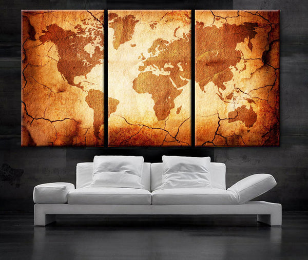 "LARGE 30""x 60"" 3 Panels Art Canvas Print  World Map Old texture Wall Home Office decor interior (Included framed 1.5"" depth) - BoxColors"
