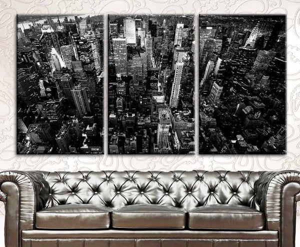 "LARGE 30""x 60"" 3 Panels Art Canvas Print New York City Downtown Building Skyscrapers Black & White Wall Home (Included framed 1.5"" depth) - BoxColors"