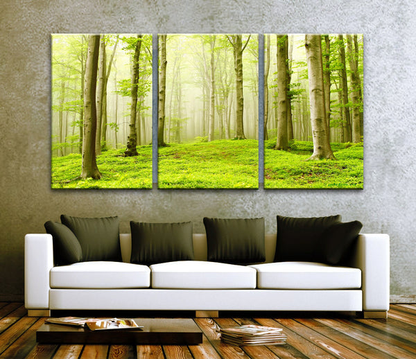 "LARGE 30""x 60"" 3 Panels Art Canvas Print Beautiful Nature Forest Scenery Trees Wall decor interior Home (Included framed 1.5"" depth) - BoxColors"