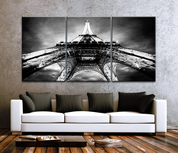 "LARGE 30""x 60"" 3 Panels Art Canvas Print beautiful Eiffel Tower Paris Black & White Night Wall decor interior (Included framed 1.5"" depth) - BoxColors"