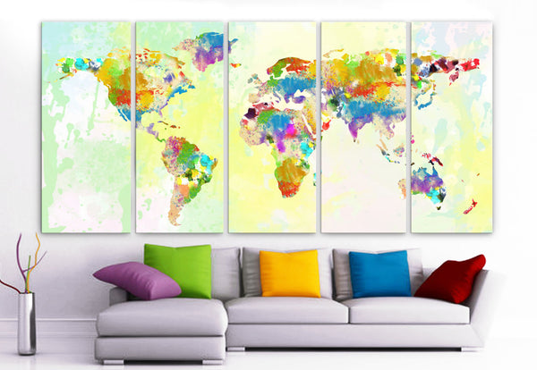 "XLARGE 30""x 70"" 5 Panels Art Canvas Print Original Watercolor World Map Texture Wall Home decor interior (Included framed 1.5"" depth) - BoxColors"