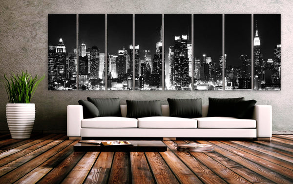 "XXLARGE 30""x 96"" 8 Panels Art Canvas Print beautiful New York City skyline Black & White Wall Home (Included framed 1.5"" depth) - BoxColors"