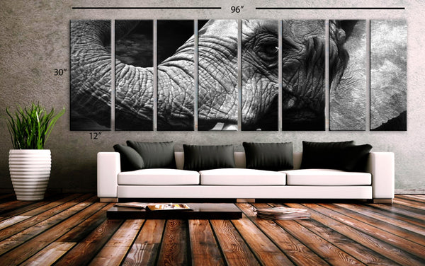 "XXLARGE 30""x 96"" 8 Panels Art Canvas Print beautiful Elephant Wall Home Office Decor interior (Included framed 1.5"" depth) - BoxColors"
