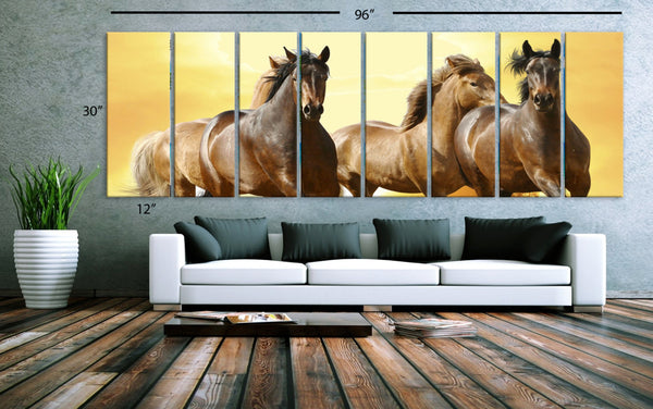 "XXLARGE 30""x 96"" 8 Panels Art Canvas Print beautiful Horses Wall Home Office Decor interior (Included framed 1.5"" depth) - BoxColors"