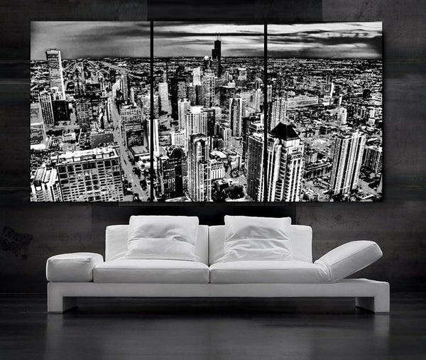 "LARGE 30""x 60"" 3 Panels Art Canvas Print Beautiful Chicago skyline City Sunset light Wall Home - BoxColors"