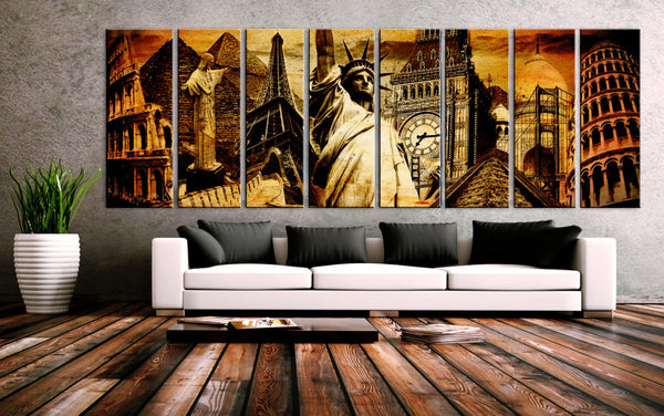 30x 96 8 Panels Canvas Print Wonders World Collage Coliseum Pyramid Christ Eiffel Statue Liberty big ben Golden Gate Pizza Taj Mahal Chitzen - BoxColors