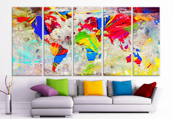 "XLARGE 30""x70"" 5 Panels Art Canvas Print Oil Watercolor Mixed Texture Original World Map pastels Wall Home decor interior(framed 1.5"" depth)"