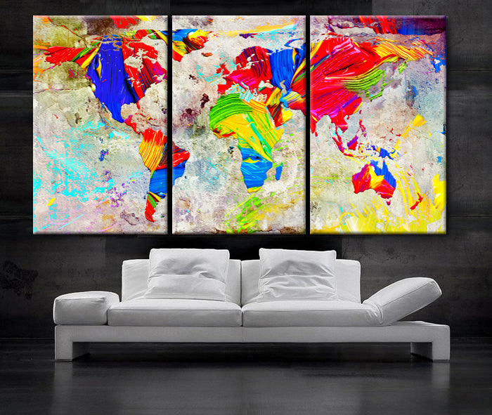 "LARGE 30""x 60"" 3 Panels Art Canvas Print Oil Watercolor Mixed Texture Original World Map pastels Wall Home decor interior(framed 1.5"" depth) - BoxColors"