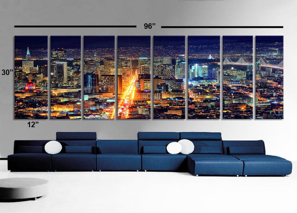 "XXLARGE 30""x 96"" 8 Panels Art Canvas Print beautiful San Francisco California night Wall Home decor interior (Included framed 1.5"" depth) - BoxColors"