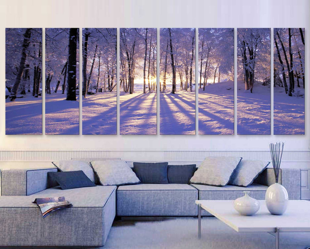 "XXLARGE 30""x 96"" 8 Panels Art Canvas Print beautiful Sunset Winter season Snow Trees Landscapes nature Wall Home decor (framed 1.5"" depth) - BoxColors"